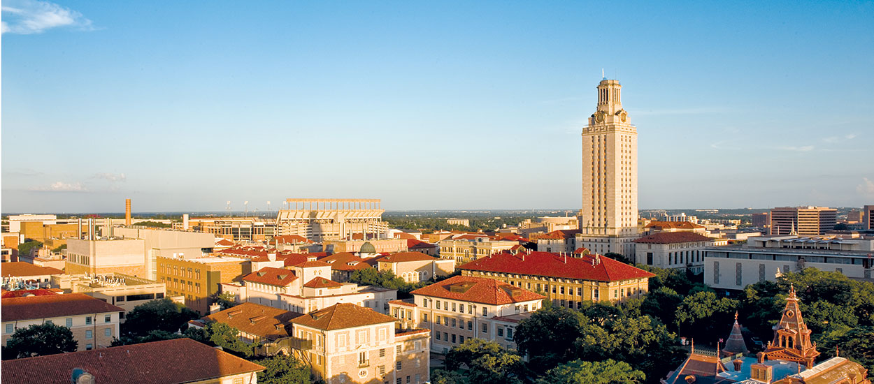 A panoramic view of the University of Texas at Austin campus.