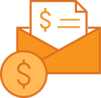 Illustration of envelope with document with a large dollar sign