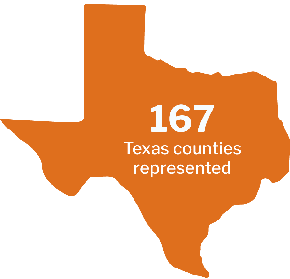 167 Texas counties represented